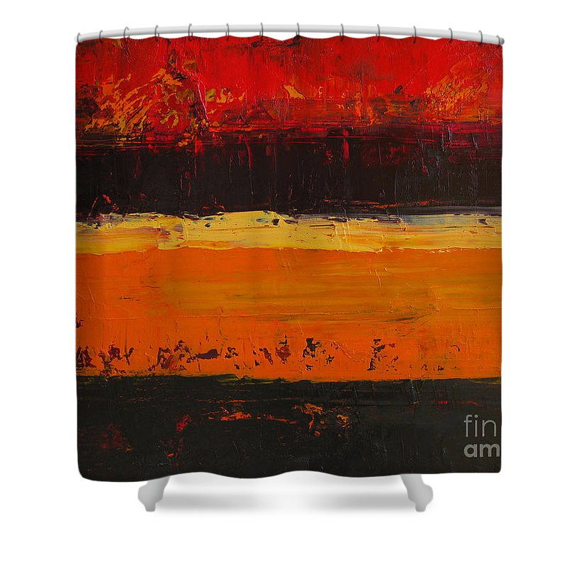 Abstract Painting Shower Curtain featuring the painting Autumn Day by Patricia Awapara