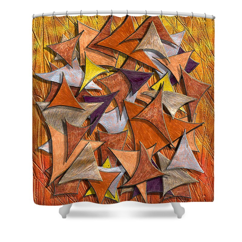 Abstract Digital Art Shower Curtain featuring the digital art Autumn Deltas by Mark Sellers