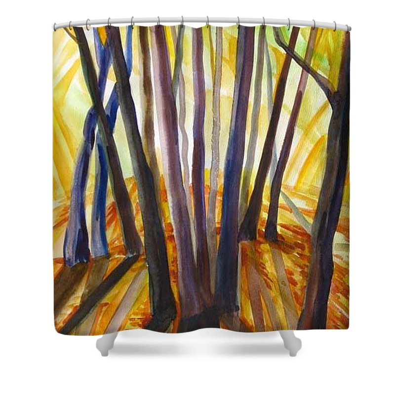 Nature Shower Curtain featuring the painting Autumn Design by Anna Duyunova