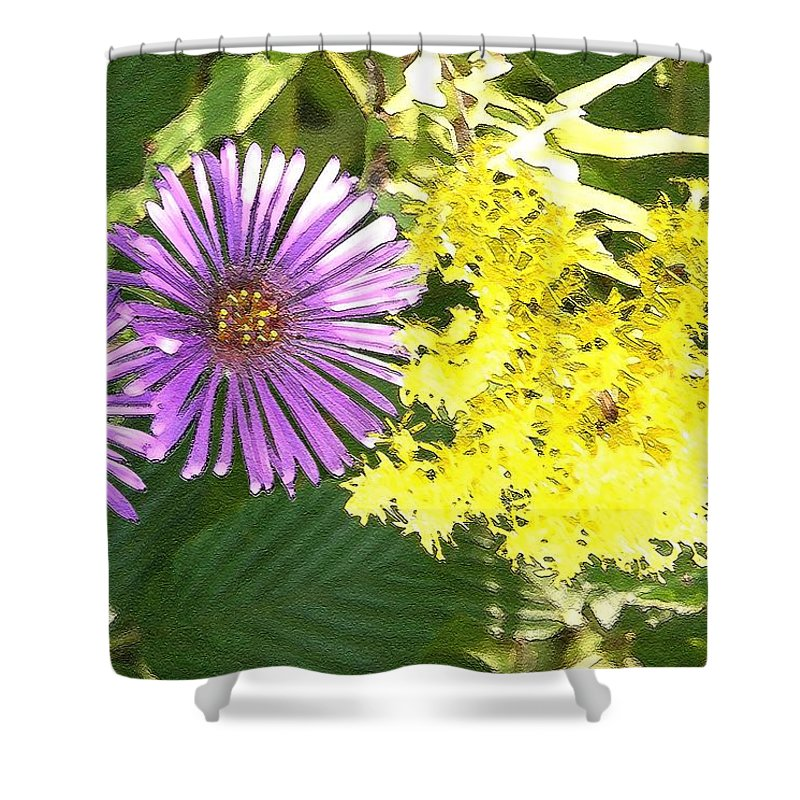 Aster Shower Curtain featuring the photograph Autumn Duo by Nelson Strong