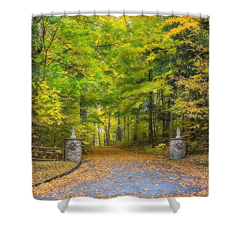 Steve Harrington Shower Curtain featuring the photograph Autumn Entrance 3 by Steve Harrington