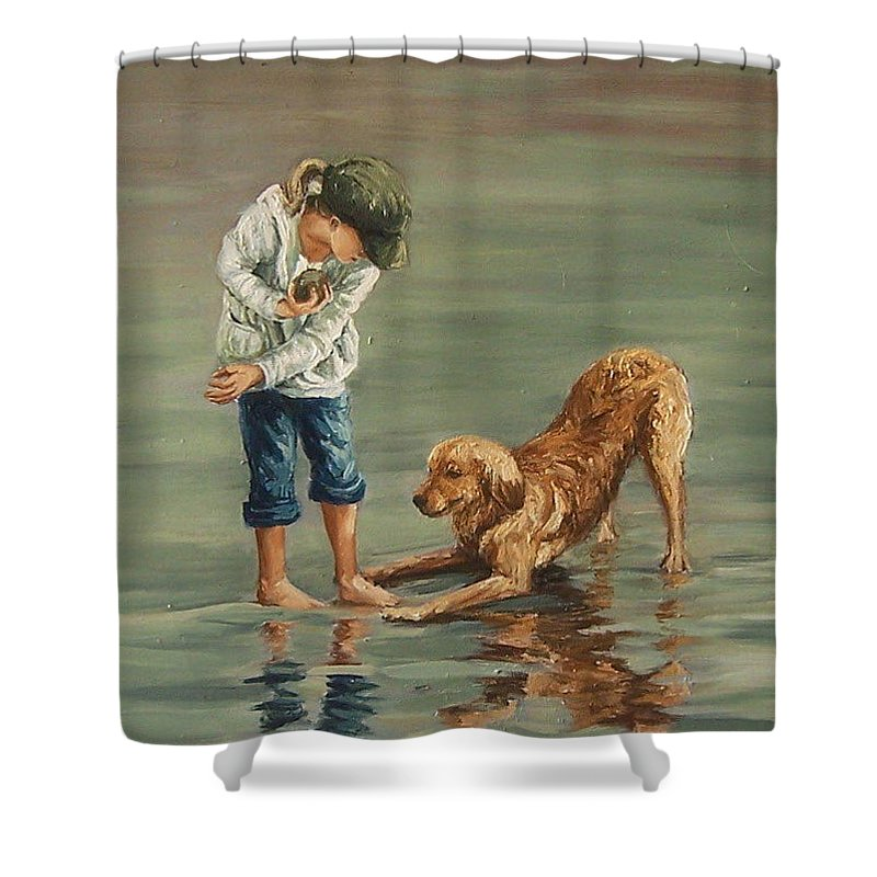 Girl Kid Child Figurative Dog Sea Reflection Playing Water Beach Shower Curtain featuring the painting Autumn Eve by Natalia Tejera