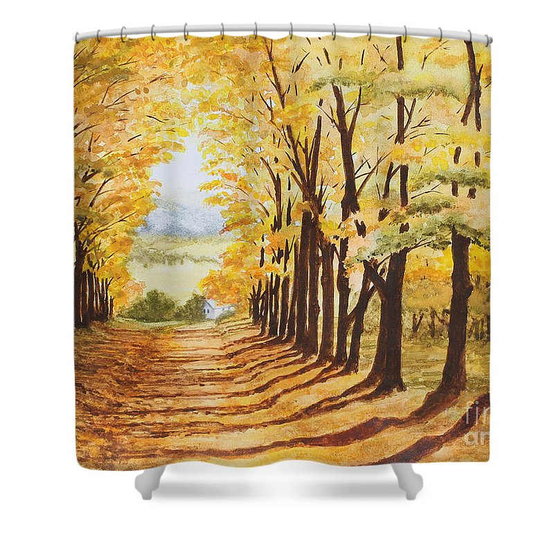 Landscape Shower Curtain featuring the painting Autumn Evening by Shirley Miller