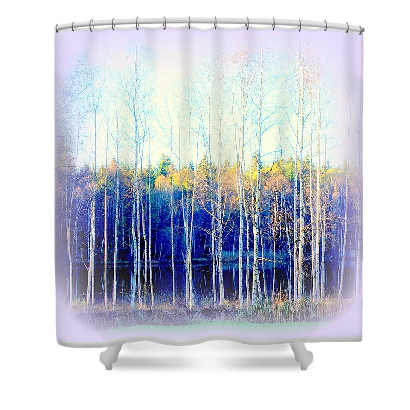 Horse Shower Curtain featuring the photograph Walking Around The Pond by Hilde Widerberg