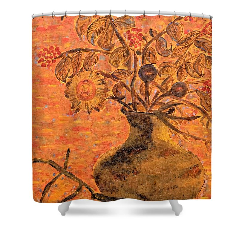 Flowers Shower Curtain featuring the mixed media Autumn Flowers by Christina McNee-Geiger