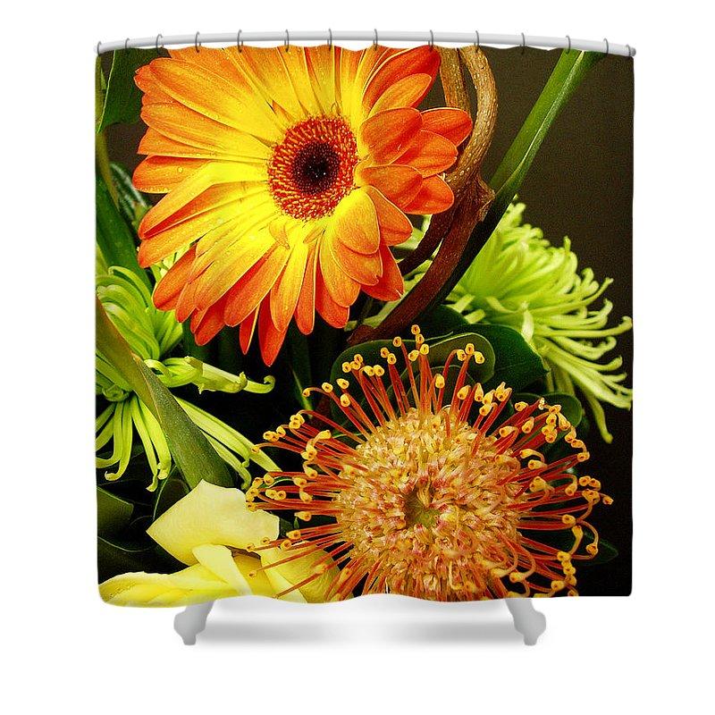 Autumn Shower Curtain featuring the photograph Autumn Flower Arrangement by Nancy Mueller
