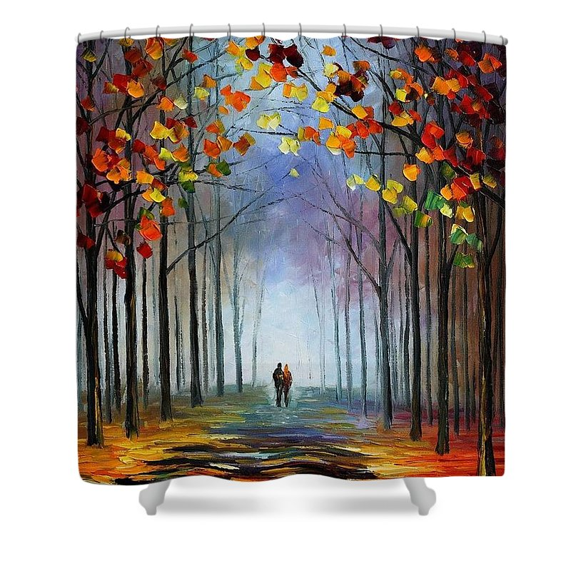Afremov Shower Curtain featuring the painting Autumn Fog by Leonid Afremov