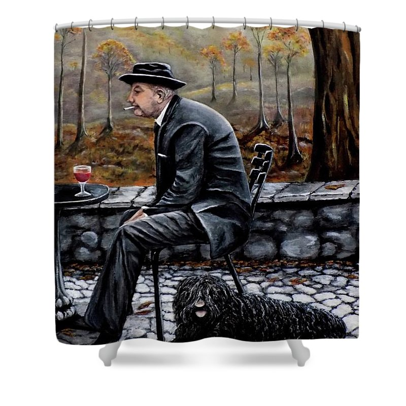 Autumn Shower Curtain featuring the painting Autumn Friends by Judy Kirouac