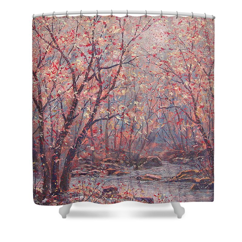 Landscape Shower Curtain featuring the painting Autumn Harmony. by Leonard Holland