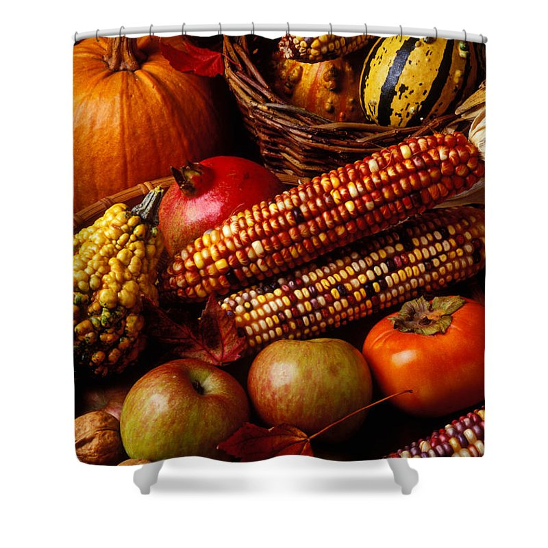 Autumn Shower Curtain Featuring The Photograph Harvest By Garry Gay