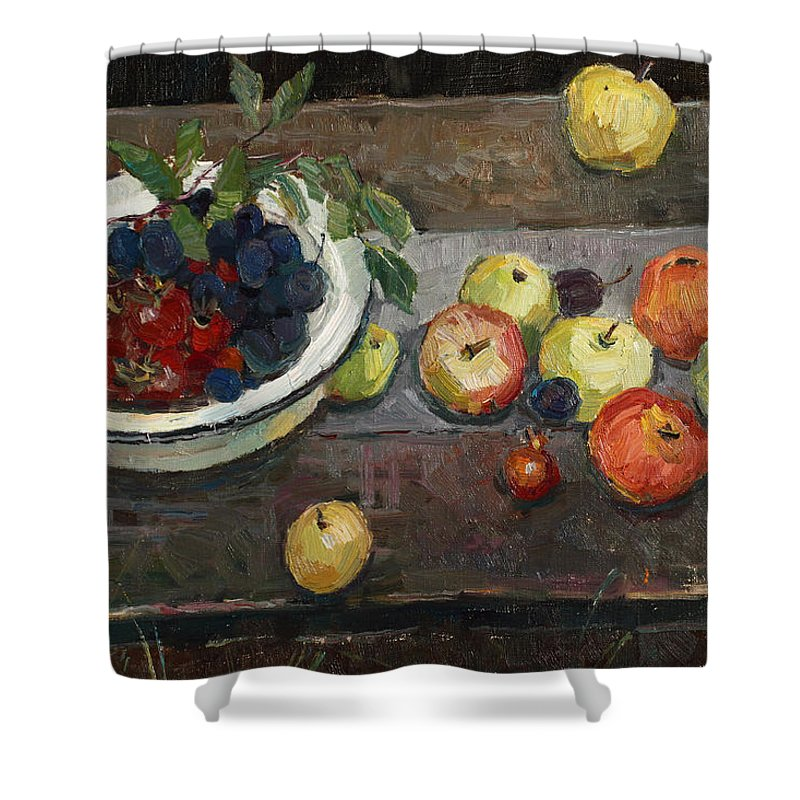 Still Life Shower Curtain featuring the painting Autumn Harvest by Juliya Zhukova