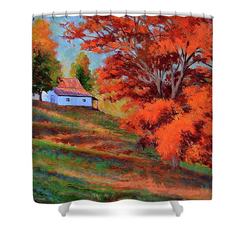 Impressionism Shower Curtain featuring the painting Autumn Hillside by Keith Burgess