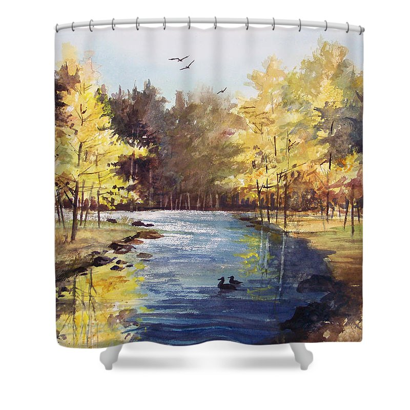 Watercolor Shower Curtain featuring the painting Autumn Impressions by Ryan Radke