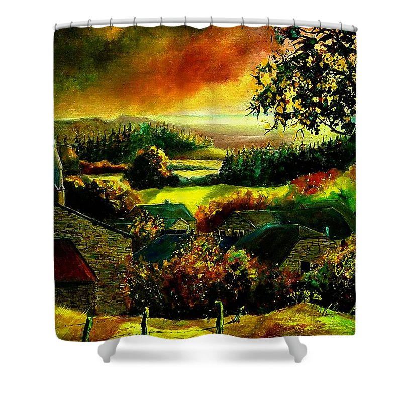 Landscape Shower Curtain featuring the painting Autumn In Our Village Ardennes by Pol Ledent