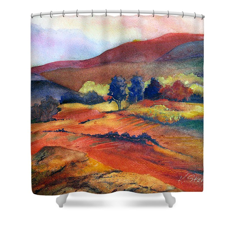 Landscape Shower Curtain featuring the painting Autumn In The Country by Karen Stark