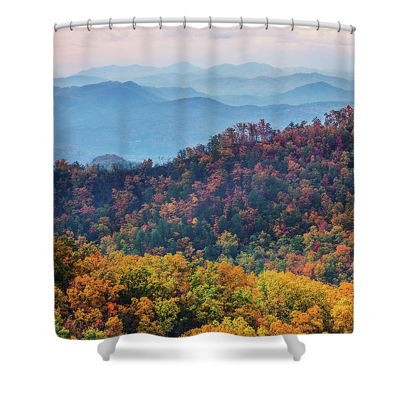 Smoky Mountains Shower Curtain featuring the photograph Autumn In The Great Smoky Mountains by Carol Mellema