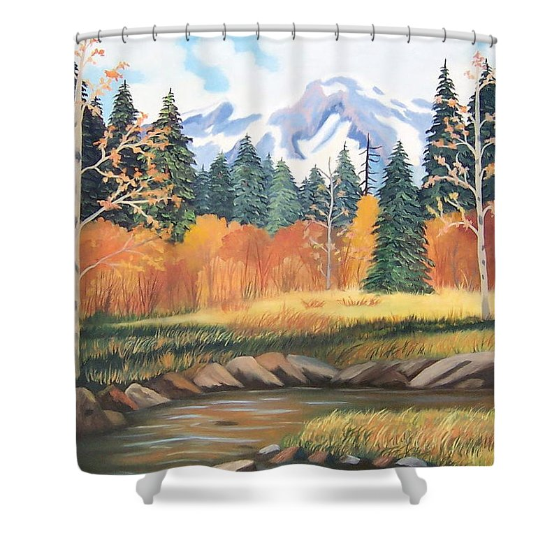 Landscape Shower Curtain featuring the painting Autumn In The Mountans by Ruth Housley