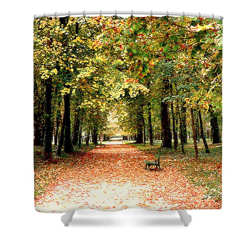 Autumn Shower Curtain featuring the photograph Autumn In The Park by Nancy Mueller