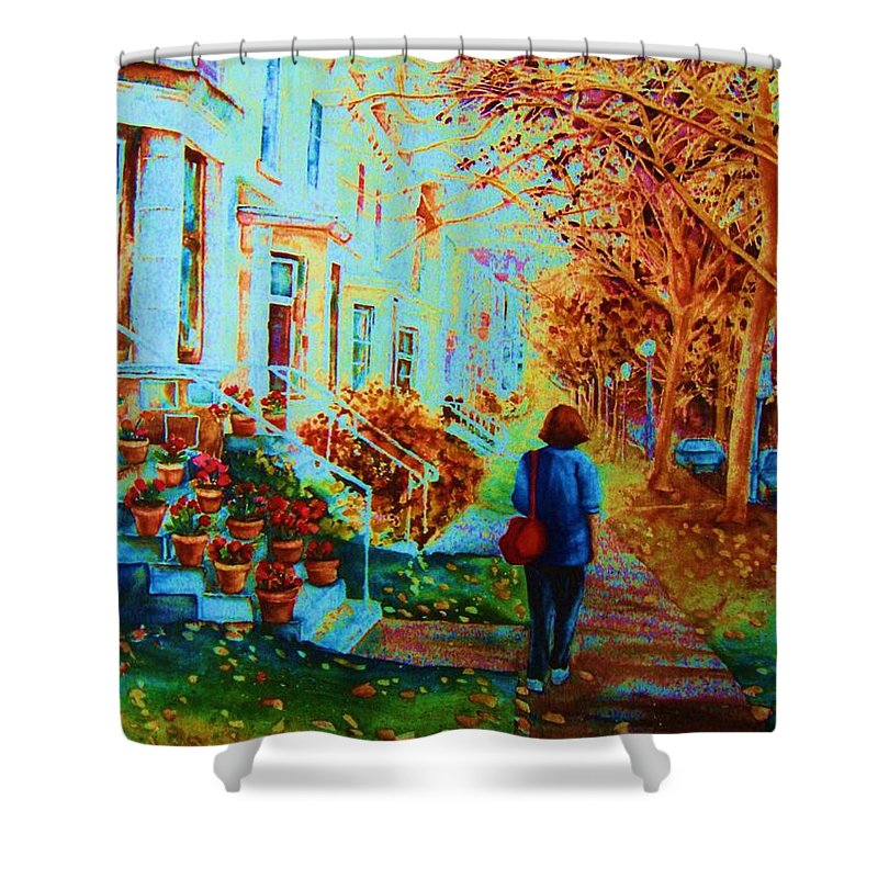 Montreal Shower Curtain featuring the painting Autumn In Westmount by Carole Spandau