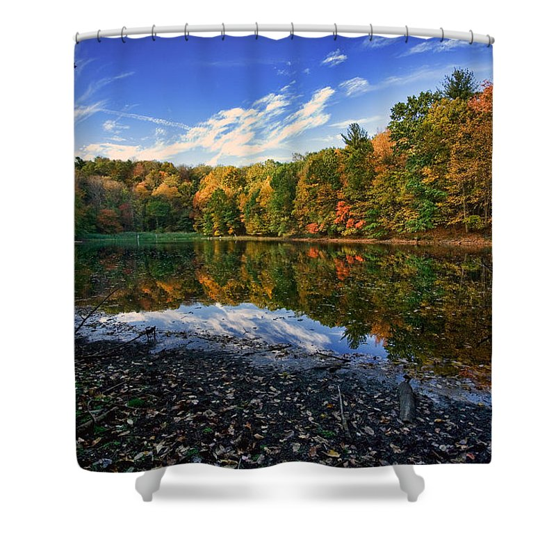 Autumn Shower Curtain featuring the photograph Autumn Lake by June Marie Sobrito