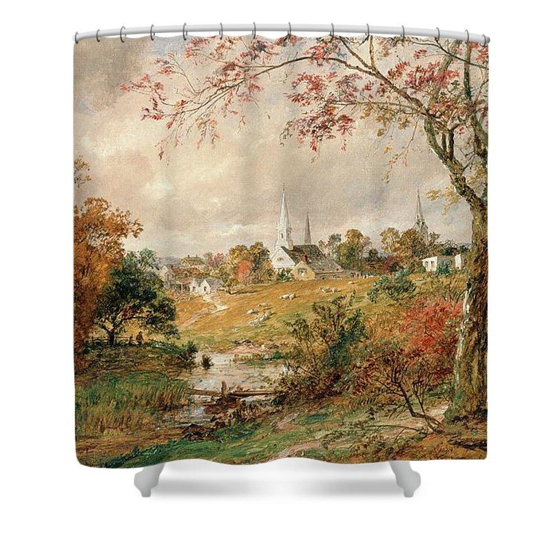 Autumn Landscape Shower Curtain featuring the painting Autumn Landscape by Jasper Francis Cropsey