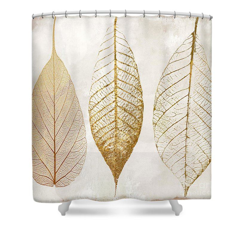 Leaf Shower Curtain featuring the painting Autumn Leaves IIi Fallen Gold by Mindy Sommers