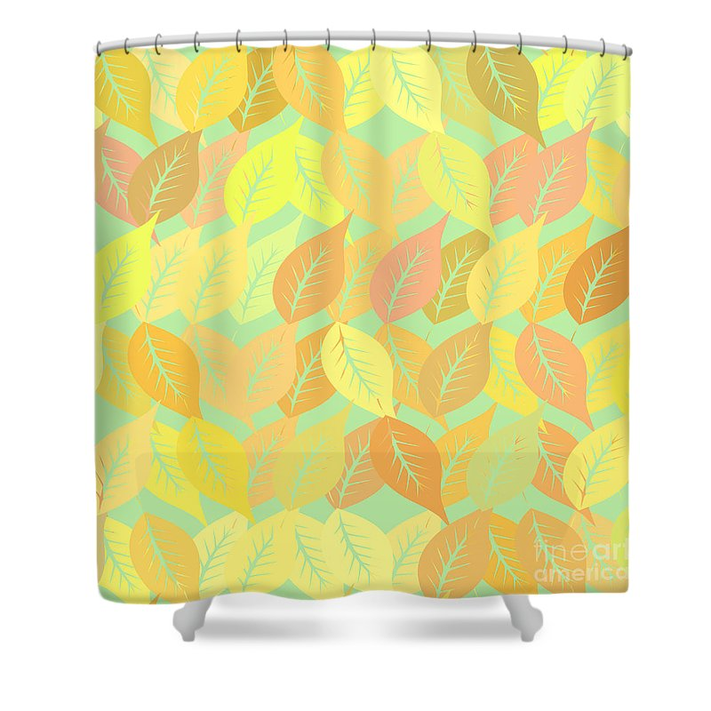 Pattern Shower Curtain featuring the digital art Autumn Leaves Pattern by Gaspar Avila