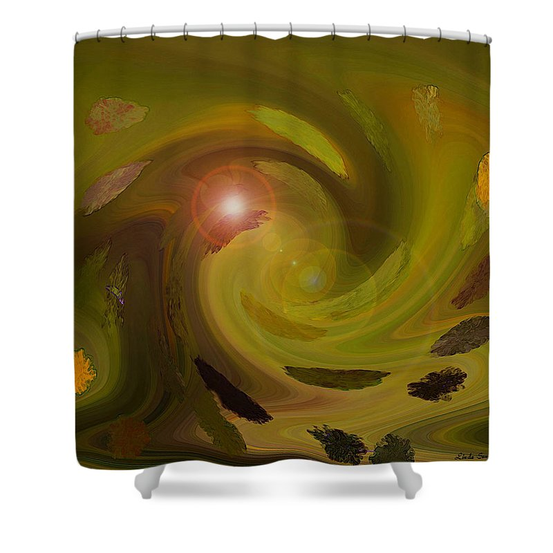 Digital Painting Abstract Shower Curtain featuring the digital art Autumn Light by Linda Sannuti