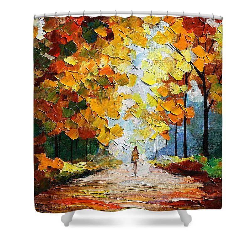Landscape Shower Curtain featuring the painting Autumn Mood by Leonid Afremov
