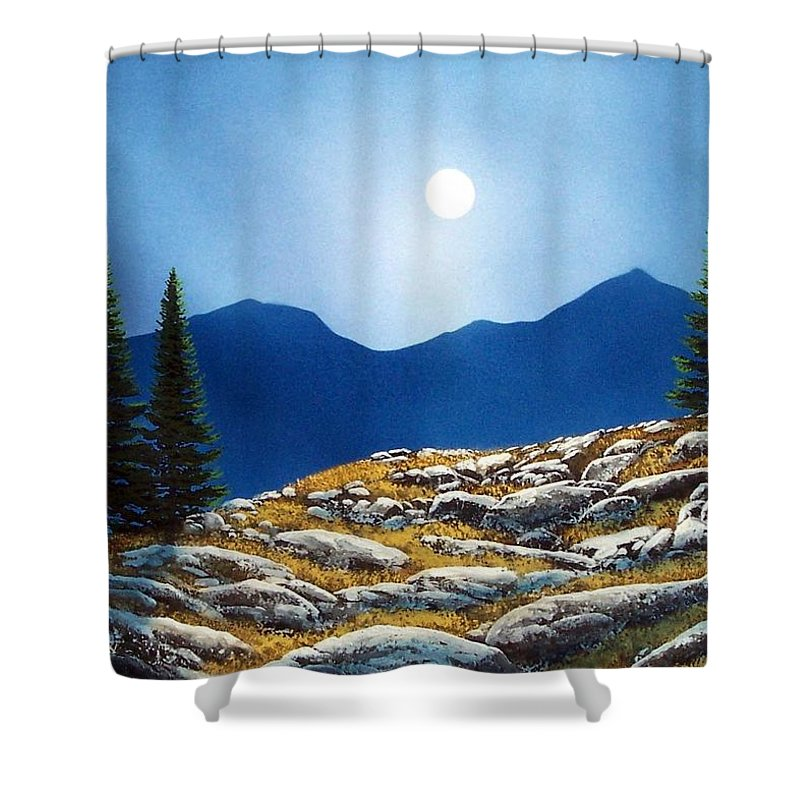 Landscape Shower Curtain featuring the painting Autumn Moon by Frank Wilson
