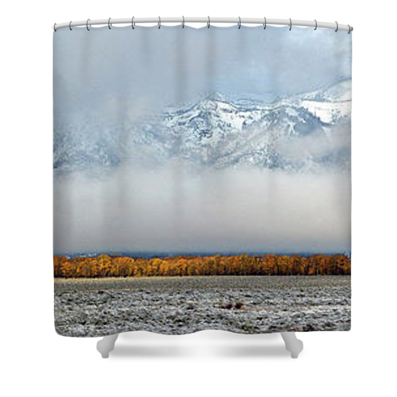 Shower Curtain featuring the photograph First Autumn Snow In The Mountains by Vincent Wille