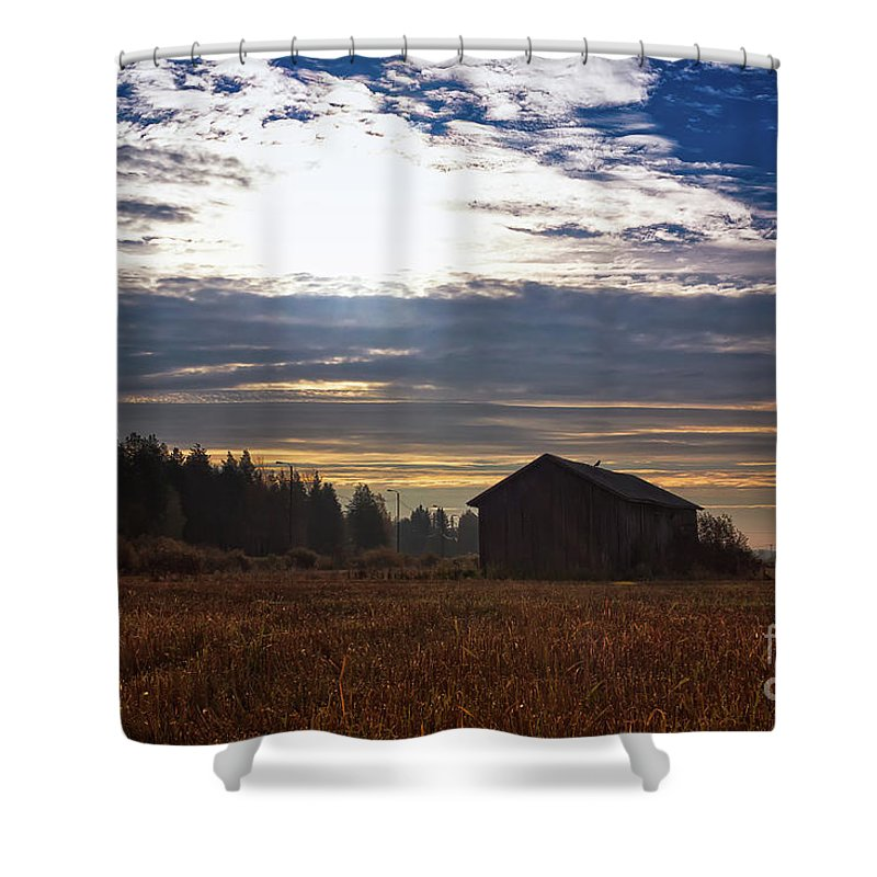 Copy Space Shower Curtain featuring the photograph Autumn Morning On The Fields by Jukka Heinovirta