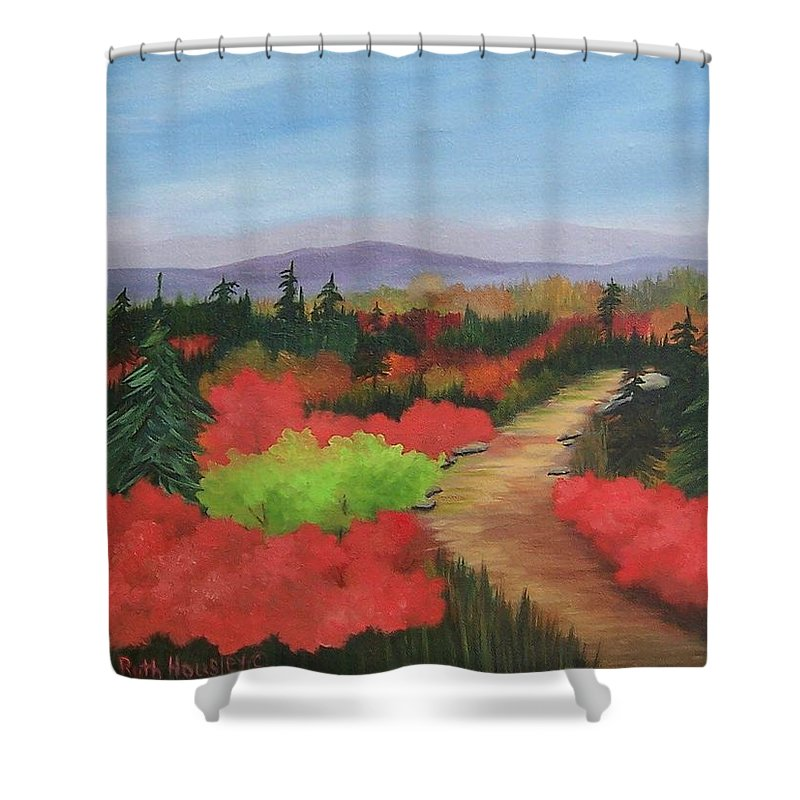 Landscape Shower Curtain featuring the painting Autumn On Dolly Sods by Ruth Housley