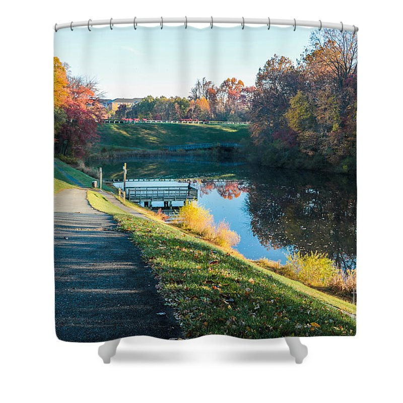 Gaithersburg Shower Curtain featuring the photograph Autumn On Lake Inspiration by Thomas Marchessault