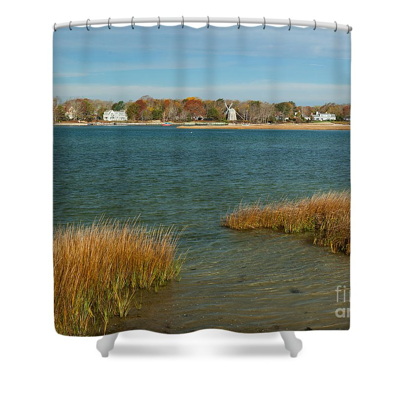 Autumn On The Bass River I Shower Curtain featuring the photograph Autumn On The Bass River I by Michelle Constantine