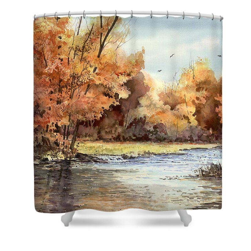 Autum Shower Curtain featuring the painting Autumn On The Buffalo by Sam Sidders