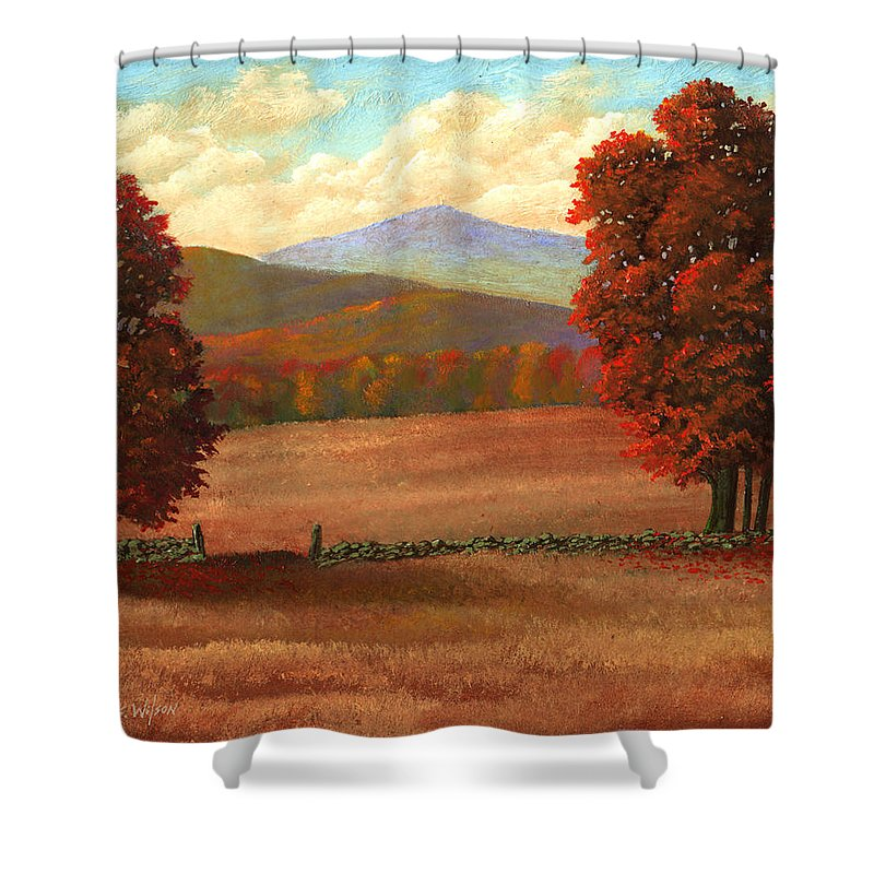 Autumn Shower Curtain featuring the painting Autumn Pastures by Frank Wilson