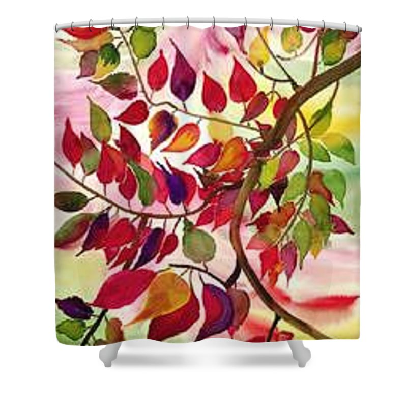 Fall Colors In The North East Shower Curtain featuring the painting Autumn by Pratibha Garewal