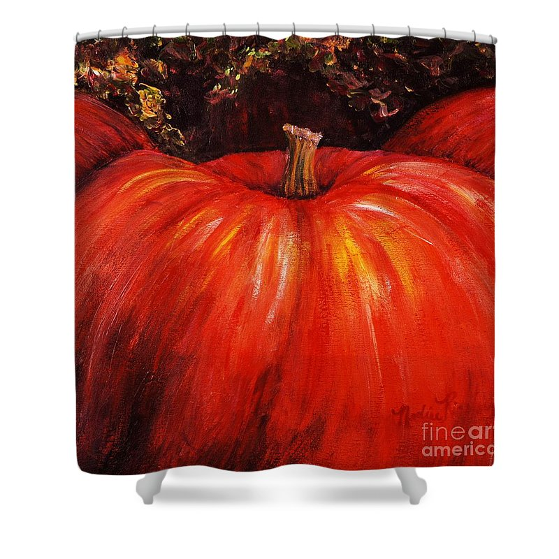 Orange Shower Curtain featuring the painting Autumn Pumpkins by Nadine Rippelmeyer
