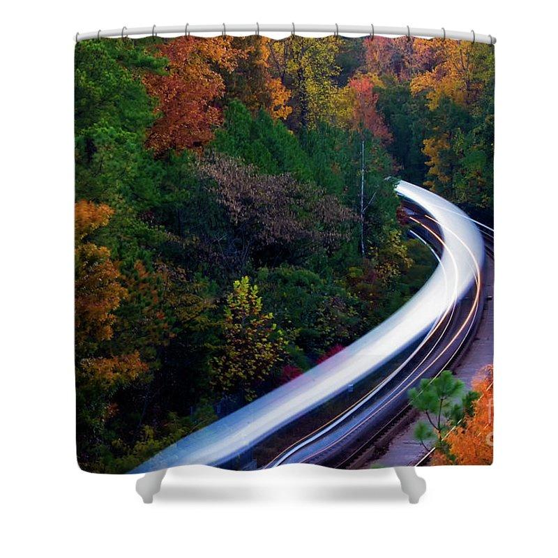 Atlanta Shower Curtain featuring the photograph Autumn Rails by Doug Sturgess