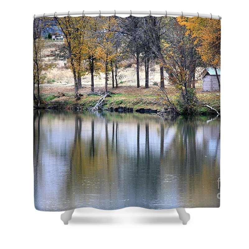Fall Reflection Shower Curtain featuring the photograph Autumn Reflection 16 by Carol Groenen