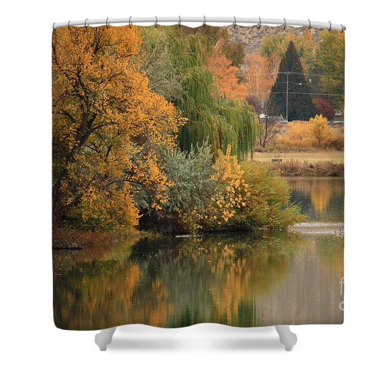 Autumn Shower Curtain featuring the photograph Autumn Reflection 41 by Carol Groenen