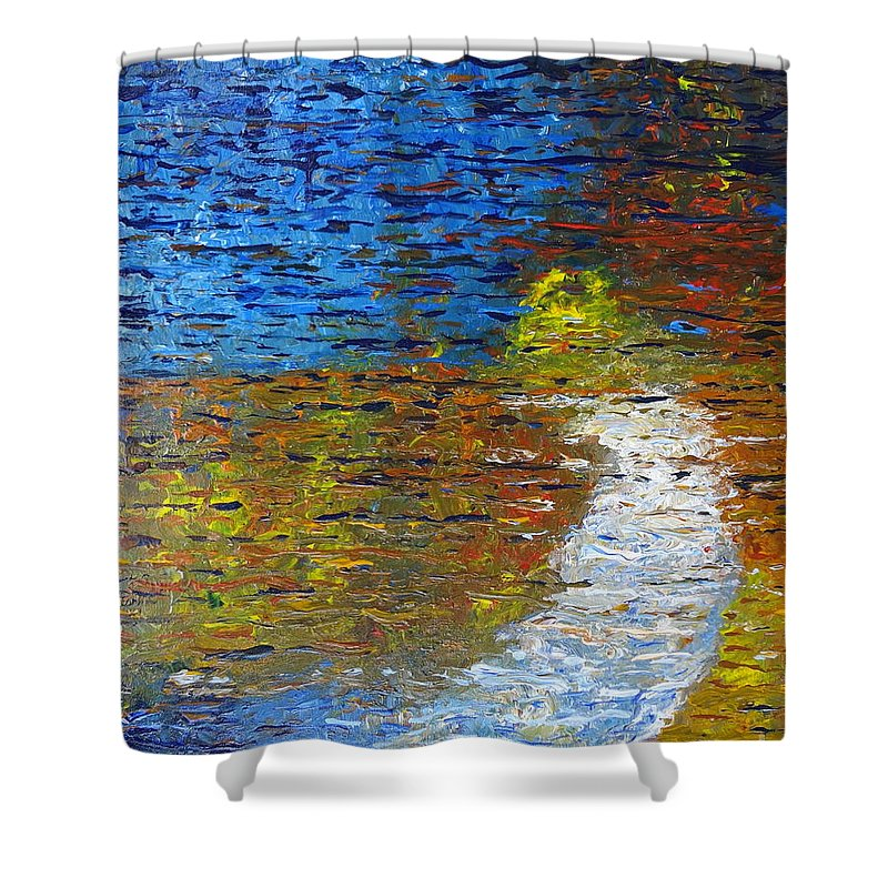 Autumn Reflection Shower Curtain featuring the painting Autumn Reflection by Jacqueline Athmann