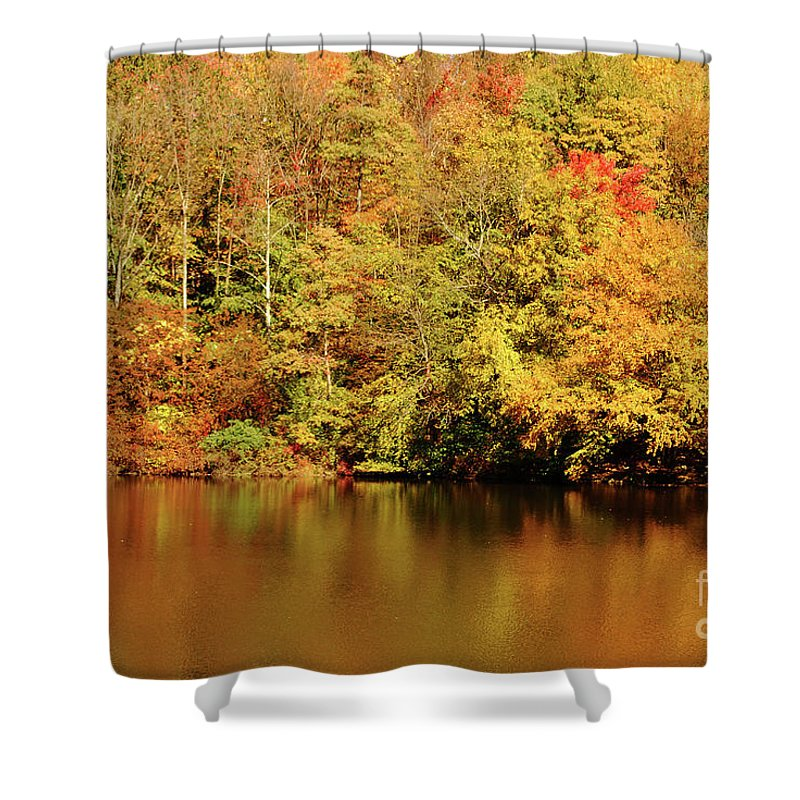 Landscape Shower Curtain featuring the photograph Autumn Reflection by Lori Tambakis