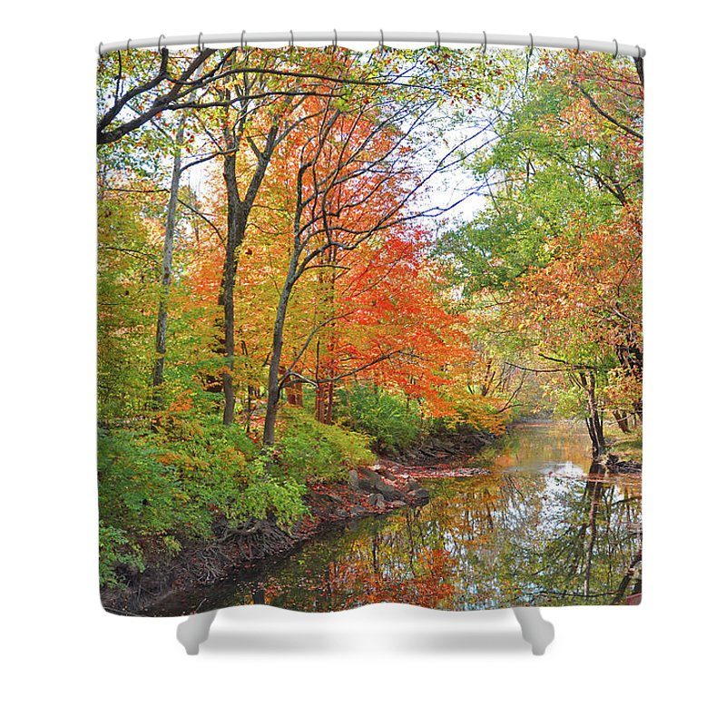 Autumn Reflections Shower Curtain featuring the photograph Autumn Reflections by Brittany Horton