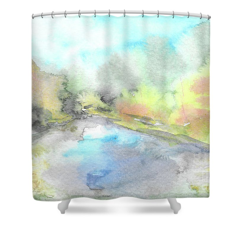 River Shower Curtain featuring the painting Autumn River by Yana Sadykova