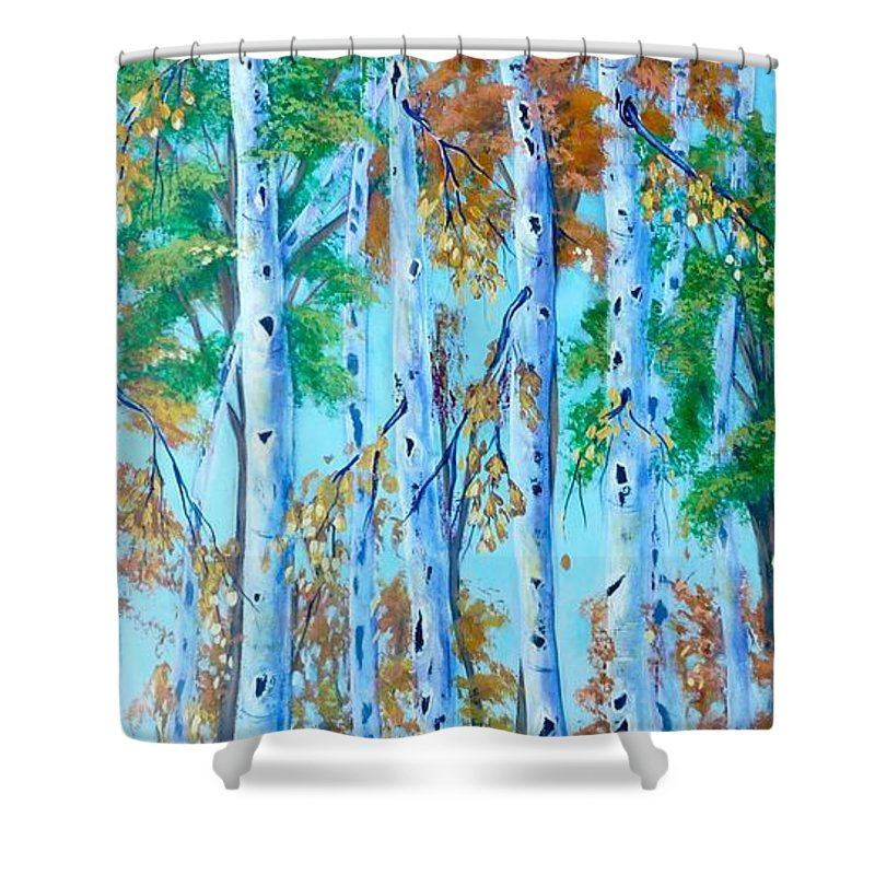 Landscape Painting Shower Curtain featuring the painting Autumn Rush by Tammy Watt