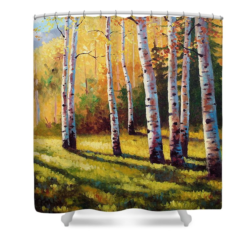 Landscape Shower Curtain featuring the painting Autumn Shade by David G Paul