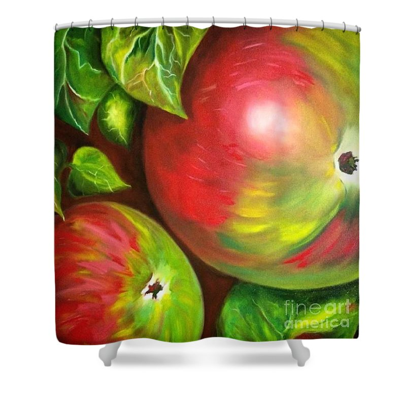 Apples Bright Green Red Harvest Oil Painting Autumn Fall Apple Orchard Colorful Canvas Painting Shower Curtain featuring the painting Autumn Splendor by Suzanne Godau