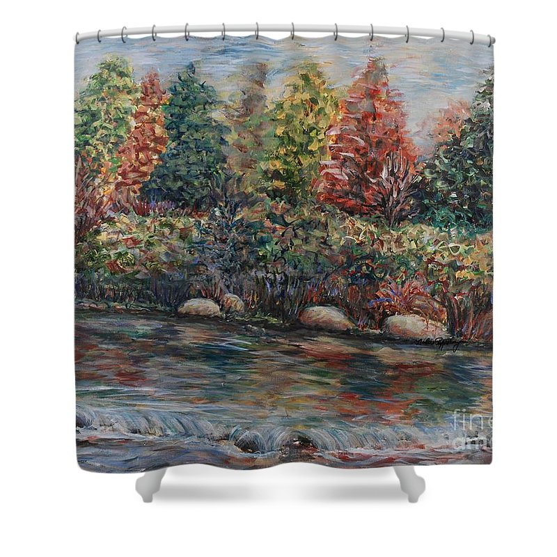 Autumn Shower Curtain featuring the painting Autumn Stream by Nadine Rippelmeyer